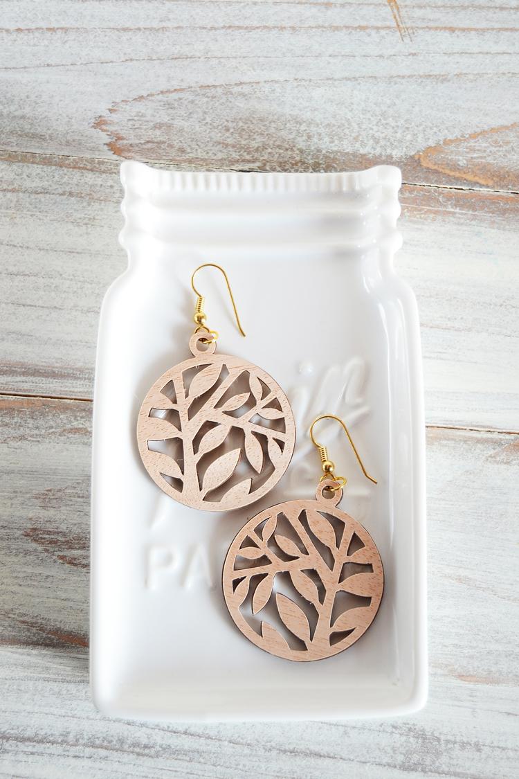 wood papercut earrings