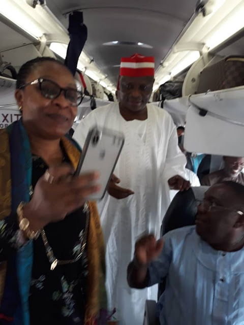 Kwankwaso Mobbed By Passengers On Arik Flight (Photos)