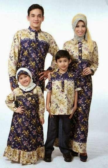 Contoh model baju batik muslim anak dan keluarga