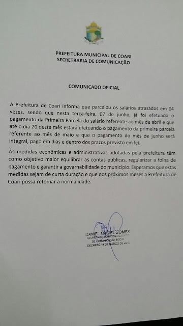 *PREFEITURA DE COARI INICIA PAGAMENTO PARA EQUILIBRAR CONTAS PÚBLICAS*