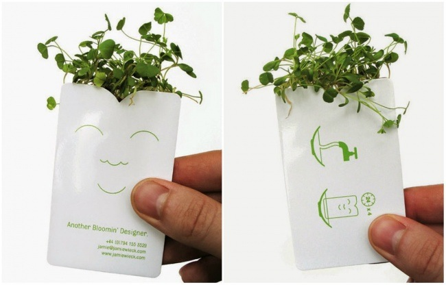 بطاقة عمل مصمم مناظر طبيعية تحمل بعض النباتات الخضراء