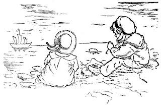 children beach vintage image