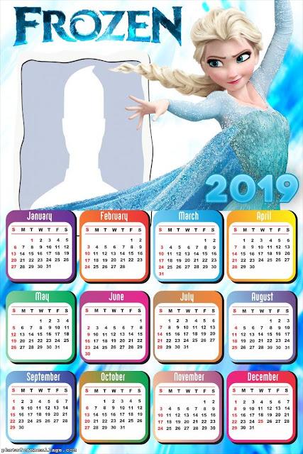 Calendario 2019 de Elsa de Frozen para Imprimir Gratis.