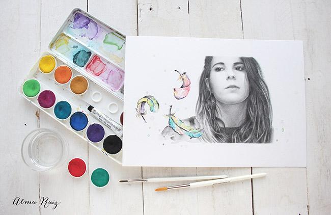 Retrato original a lápiz y acuarela de Debora Oye Deb