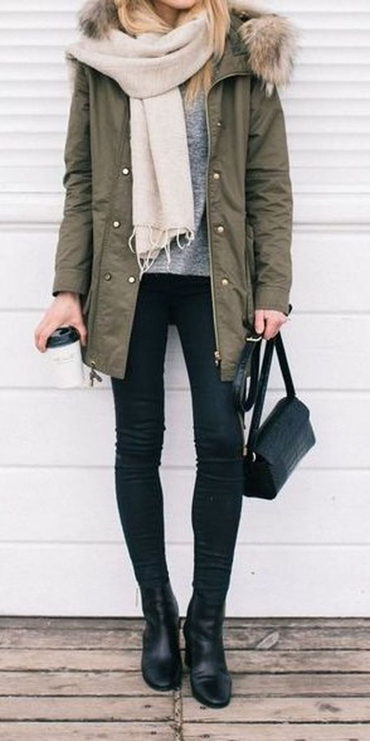 what to wear with a parka / nude scarf + sweater + black skinnies + boots + bag