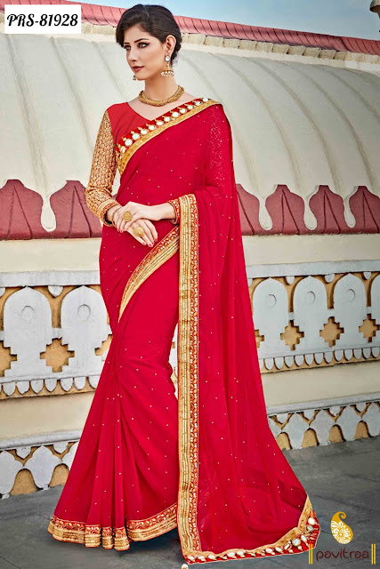 Red color regal sarees online shopping with price