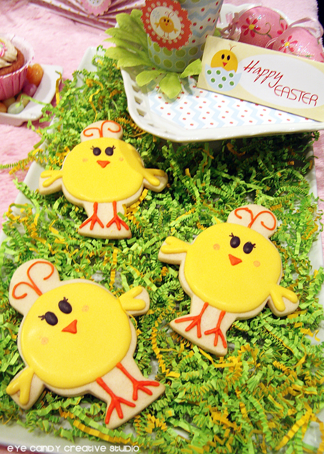 easter cookies, chick cookies, easter party cookies, easter party