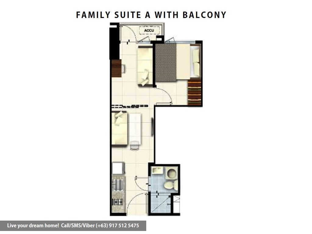 Floor Plan of SMDC Coast Residences - Family Suite A With Balcony | Condominium for Sale Roxas Boulevard Pasay