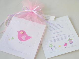 προσκλήσεις βάπτισης με θέμα πουλάκια σε τούλι ροζ