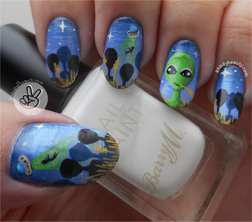 Freehand Alien Nail Art Terry The Extraterrestrial