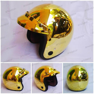 Helm Classic Model Bogo Chrome Crome Gold Pet/vespa/cafe racer