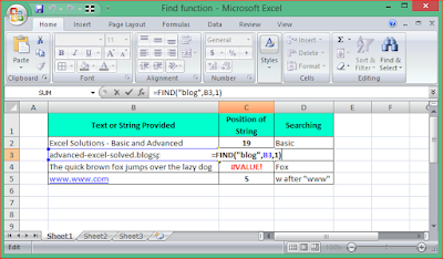 FIND Function in Microsoft Excel