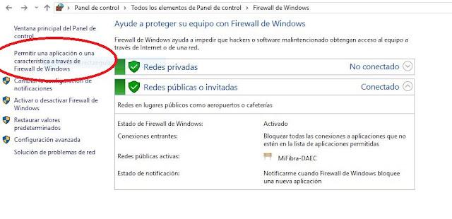 pantallazo: cómo permitir una aplicación a través del firewall