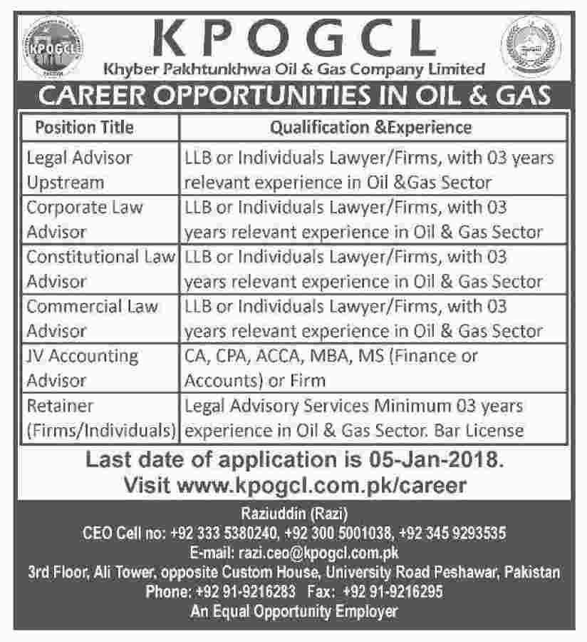 LLB ,Jobs in Oil and Gas field, Jobs in KPK, Jobs in Peshawar, ACCA, MBA, Finance, Administration