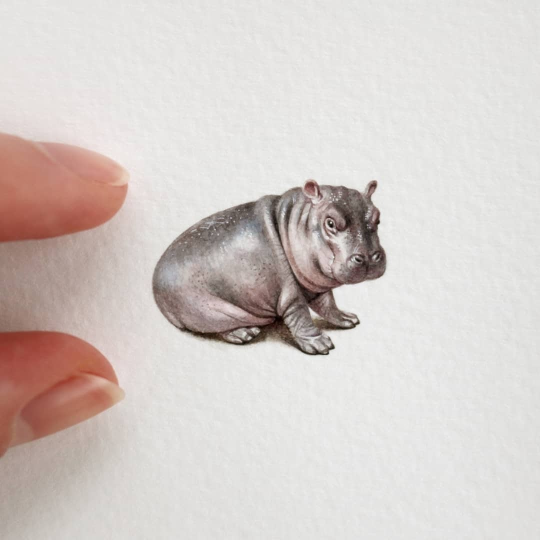 02-Baby-Hippopotamus-Julia-Las-Miniature-3-cm-Paintings-of-Wild-Animals-www-designstack-co