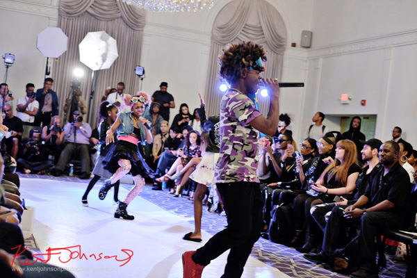 With some help from so even younger dancers! King Imprint & Kandi Reign Dance It Up LIVE at NYFW - Photographed by Kent Johnson for Street Fashion Sydney.