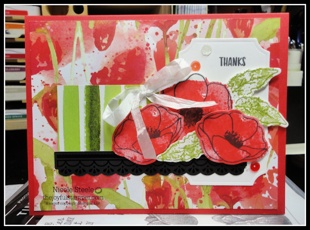 Thank you card using Stampin' Up!'s Peaceful Poppies suite & Sending You Thoughts set | by Nicole Steele The Joyful Stamper