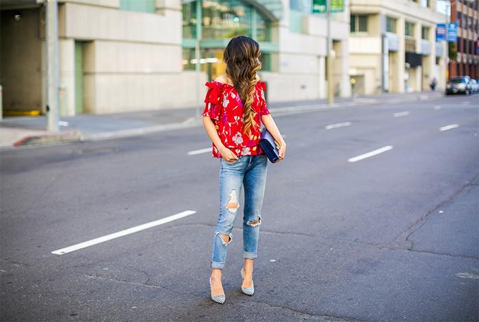 Banana republic floral off shoulder top, blank denim jeans, alice olivia stripe pumps, celine classic box bag, san francisco fashion blog, banana republic simply sophisticated summer, san francisco street style