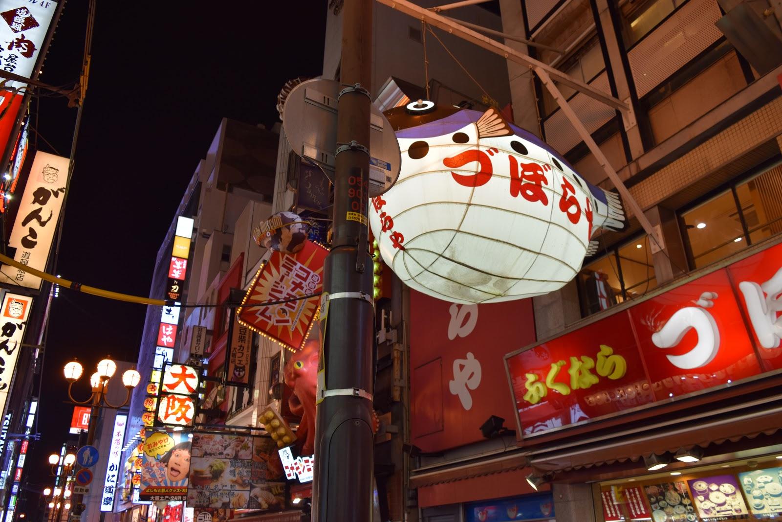 Neon signs and giant puffer fish in Dotombori, Osaka