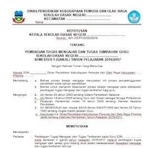 Contoh Format SK Pembagian Tugas Mengajar Guru Terbaru Tahun Ajaran 2017/2018