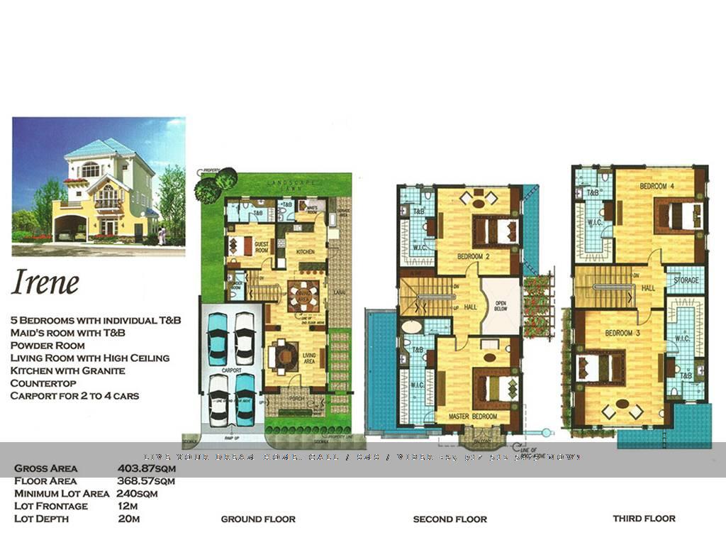 Floor Plan of Versailles Alabang - Irene | House and Lot for Sale Daang Hari Las Pinas