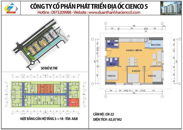 Mặt bằng căn hộ CH22 tầng 3-18 tòa HH02A&B