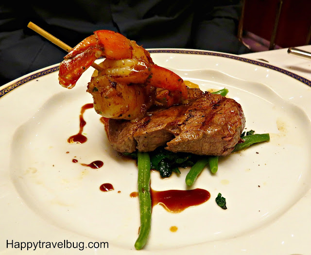 Cracked pepper tenderloin with grilled shrimp on Holland America Cruise