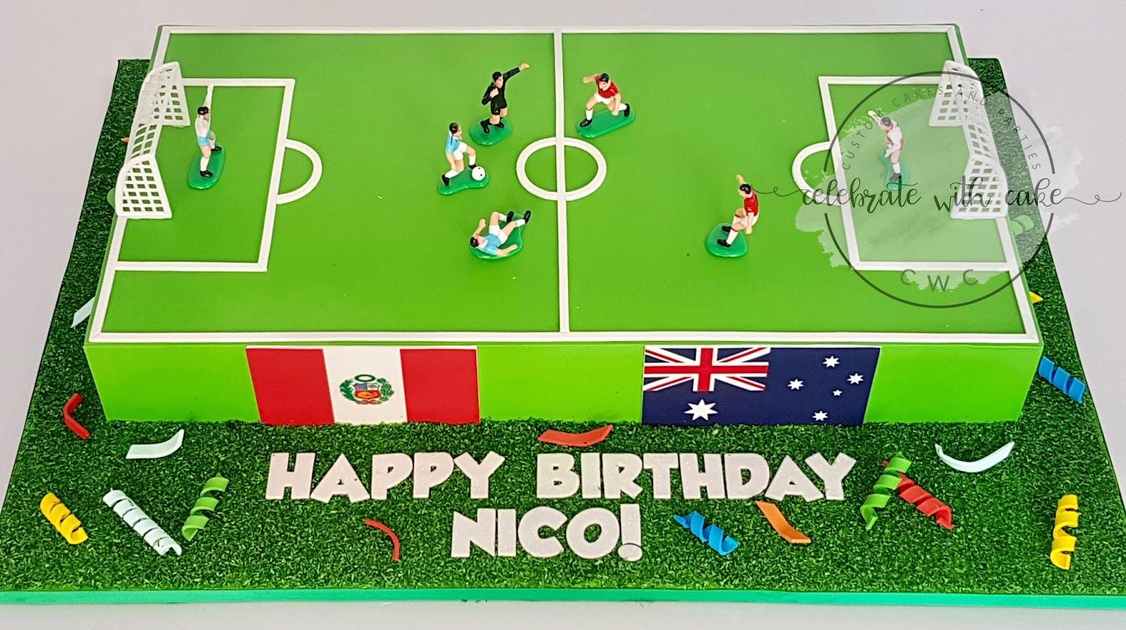 Pleasant Celebrate With Cake Soccer Field Cake Funny Birthday Cards Online Aboleapandamsfinfo