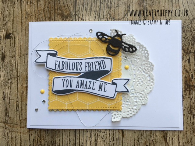 How to make a bee-themed card using the Bubbles & Fizz Designer Series Paper from Stampin' Up!