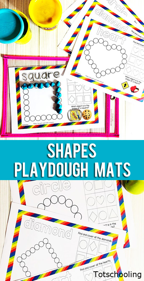 FREE printable Shape learning mats that can be used with playdough or do-a-dot markers, or both. Fun activity for preschoolers and kinders to learn about shapes!