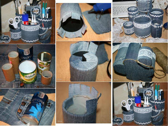 ideas para hacer cajas de carton o madera forradas con tela de jeans