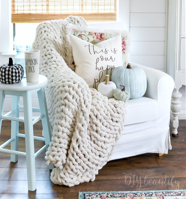 buffalo check, pastels, chunky throw, pastel pumpkins