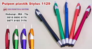 Pena Multifungsi Plastik Stylus, Pulpen plastik Stylus PP1129 unik, Pulpen Multifungsi : PEN STYLUS 1129, Pulpen Promosi Stylus 2 in 1, Stylus Pen souvenir, Medium Stylus Pen HP + Ballpoint Pulpen - Universal Capacitive Touch