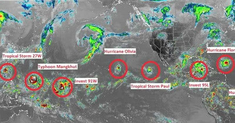 นักข่าวประหลาดใจ เกิดมาไม่เคยเห็นแบบนี้มาก่อน โลกกำลังเกิดพายุหมุนเรียงรายพร้อมกัน 10 ลูก.!!!! (คลิป)