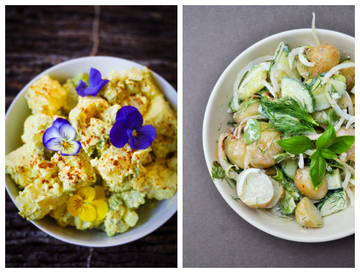 photo of two different creamy potato salads, one with a thick mayo dressing, the other with a light cream dressing and fresh herbs