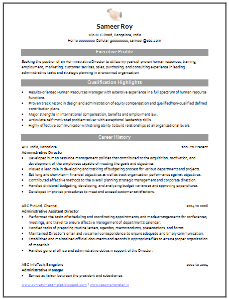 resume administrative manager