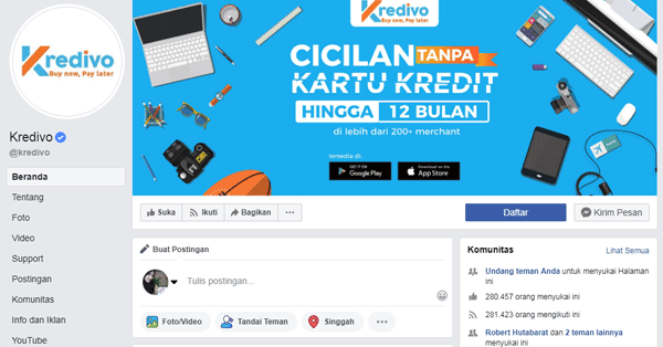 halaman facebook kredivo yang sudah terverifikasi centang biru