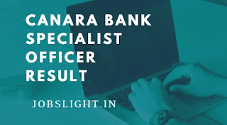 Canara Bank Specialist Officer Result