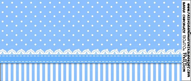Celeste con Lunares y Rayas Blancas: Etiquetas para Candy Bar de Primera Comunión para Imprimir Gratis.