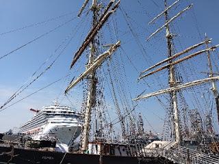 sailing ship and modern cruise ship in Galveston