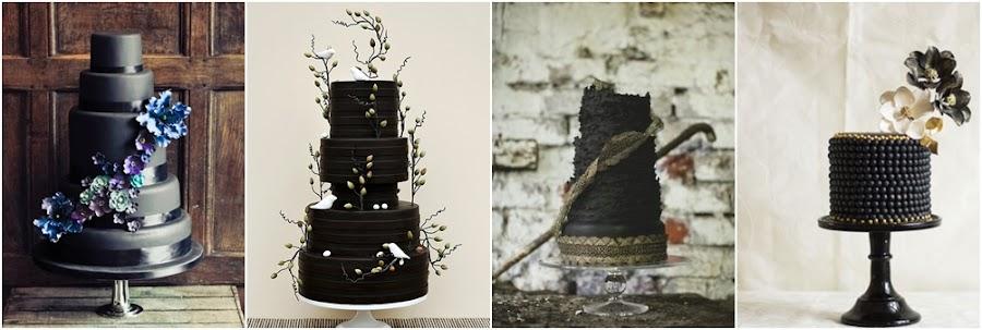 Tartas de fondant negro para bodas