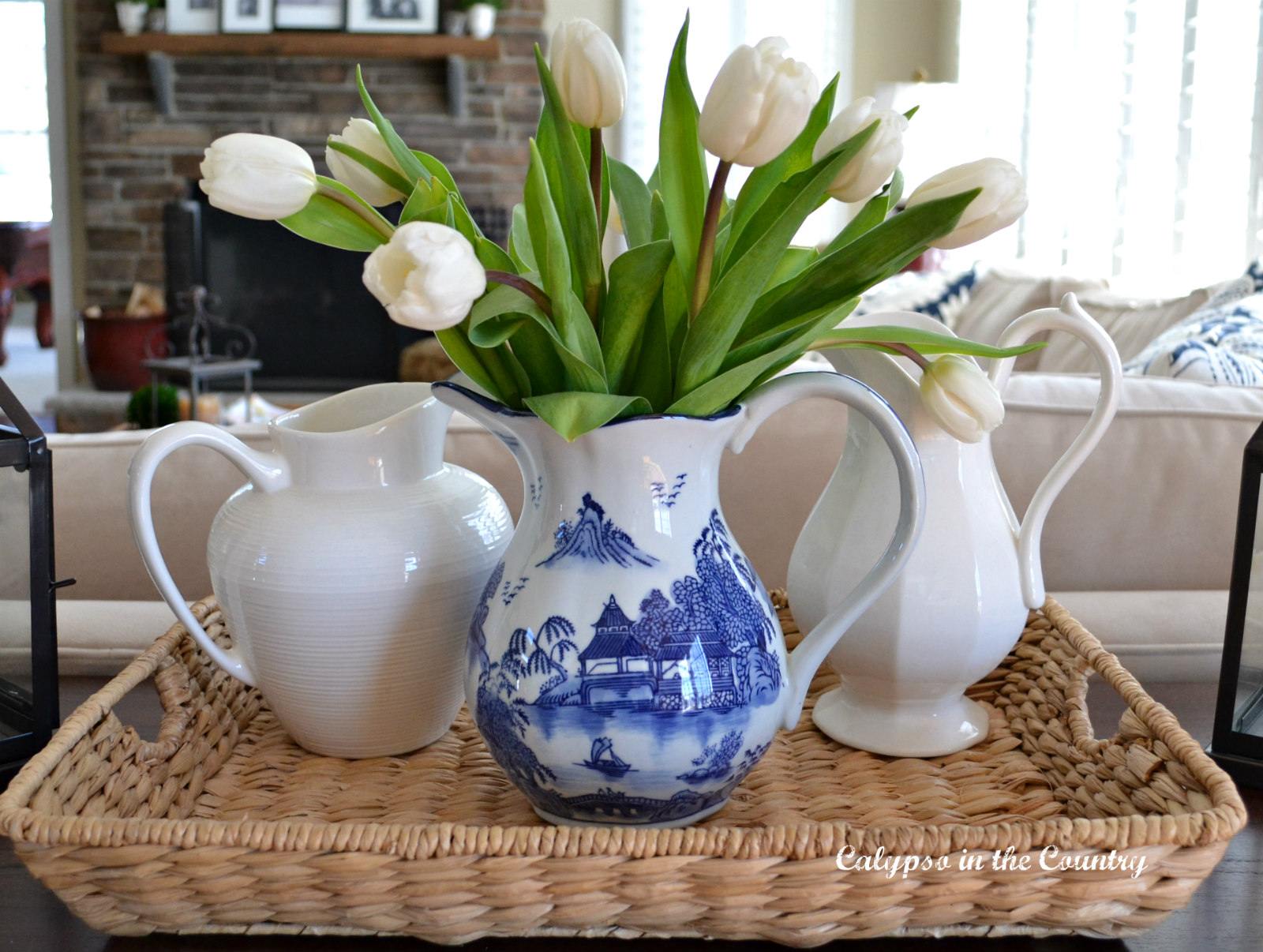 Blue and White vignette with tulips