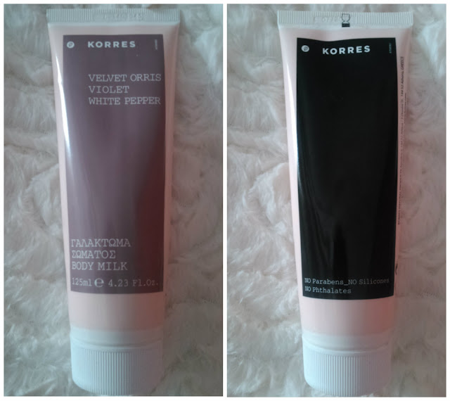 Korres velvet orris violet white pepper body milk