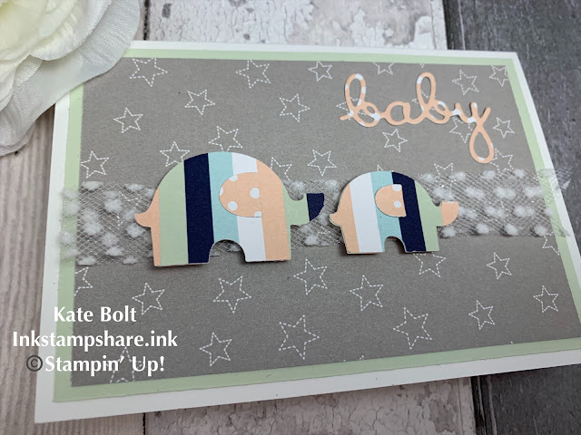 Baby card for the Inspire Create Challenges using The Little Elephant Punch and Twinkle Twinkle papers