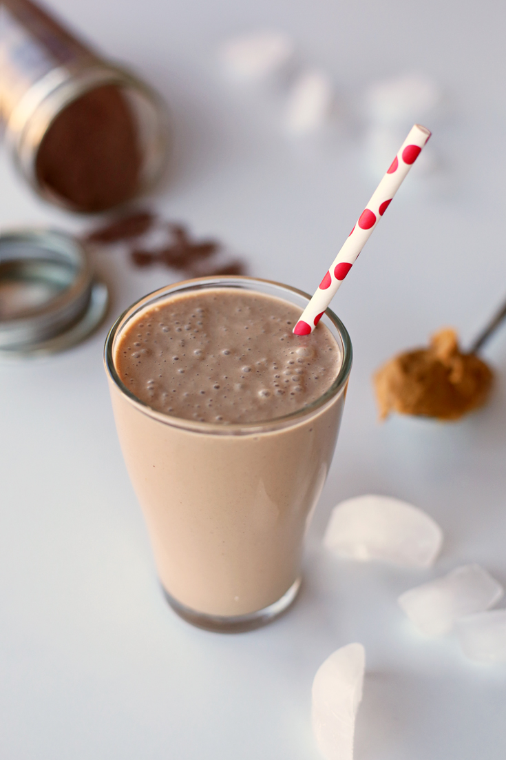 Quick, healthy chocolate peanut butter smoothie when you really want something sweet without all the empty calories