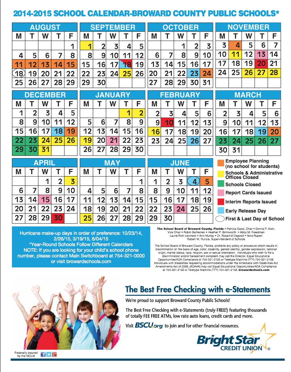 Broward County School Calendar 2017 17 | Calendar