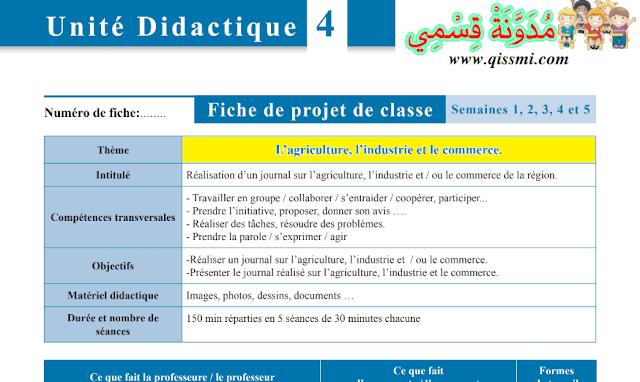 جذاذات الفرنسية الوحدة الرابعة مرجع L'école des mots للمستوى الرابع ابتدائي