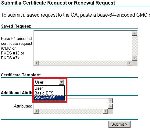 Submit a certificate Request or Renewal Request