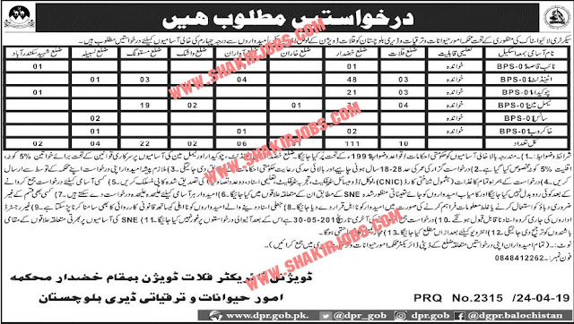 Livestock And Dairy Development Department Balochistan Jobs (158 Vacancies) Latest Quetta Jobs For Attendant, Naib Qasid & Others