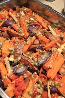 Pieczone warzywa z  kaparowym dressingiem